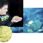 Bridget Buxton, associate professor of archaeology, holds gold coins she retrieved during an underwater archaeological expedition in Israel.