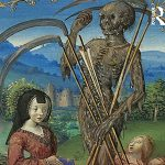 """""""Images of death abounded in the later Middle Ages, especially in the period after the Black Death in the mid-14th century,'' says Joëlle Rollo-Koster of South Kingstown, a renowned medieval scholar. """"It was part of life, ritualized and choreographed—unlike today, where it is hidden and closeted."""" Top, a detail from the cover of the book, published by Routledge."""