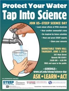 Protect Your Water, Tap Into Science. Join us - STEEP Science Day, Thursday, June 7, 2018. 10am to 4:30pm. Free and open to the public. Click for flyer.