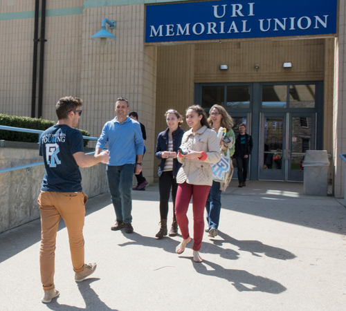 student guide giving campus tour