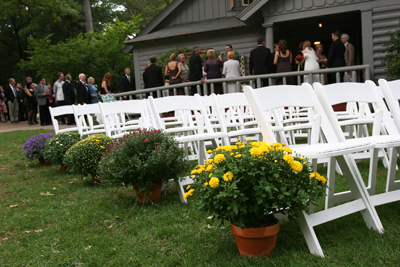 Ceremony chairs set up on the lawn