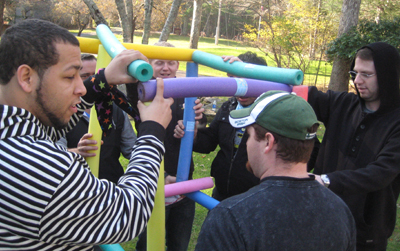 team building event with pool noodles